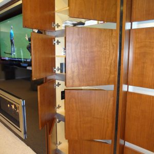 The cabinetry was designed to create a focal point that draws the attention from the surrounding space wile providing functional storage. The goal was to turn a lower level into an area that would attract and hold attention of those in it.