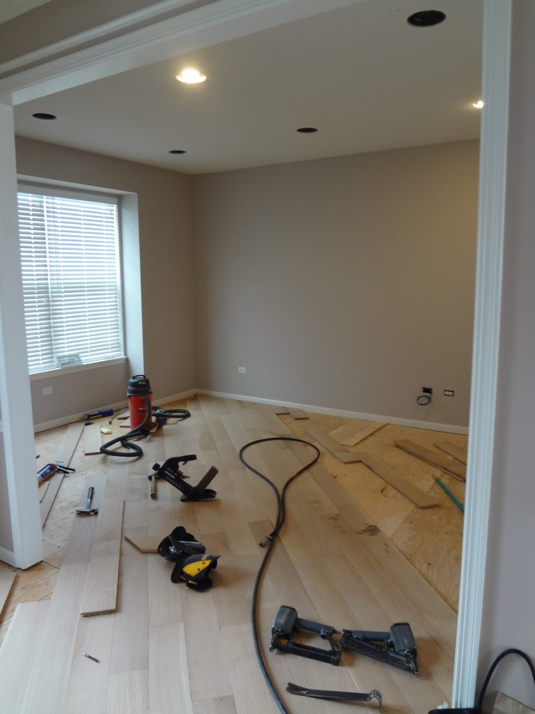 Photo of in-progress renovation of office